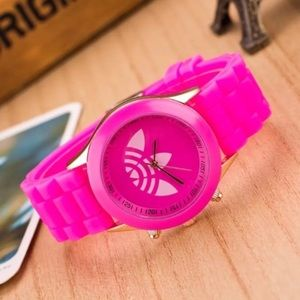 Unisex Neon Pink Trefoil Sports Fashion Watch